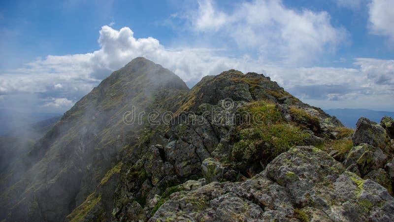 摩尔多韦亚努峰,喀尔巴阡山脉, Fagaras,罗马尼亚。在云彩的山土坎。 免版税库存照片