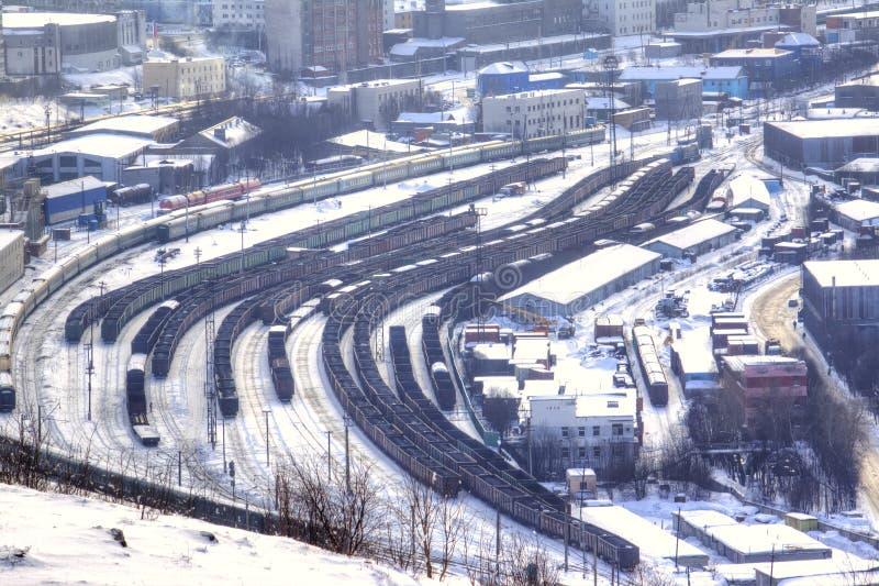 摩尔曼斯克 货物火车站 免版税库存照片