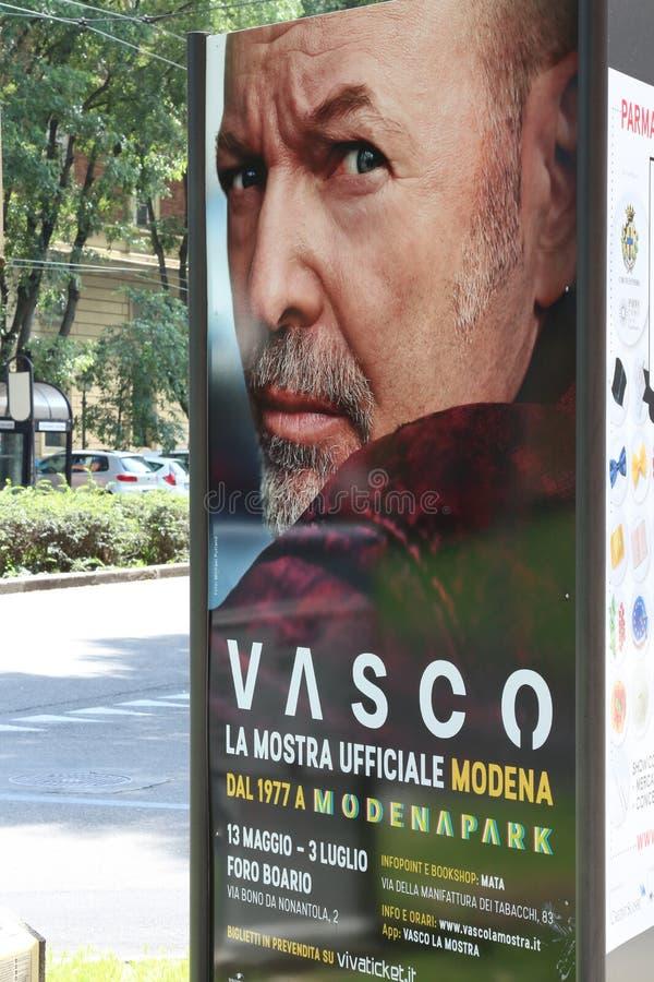 摩德纳,意大利- 2017年5月13日-摄影陈列的就职典礼在瓦斯考Rossi生活  免版税库存图片
