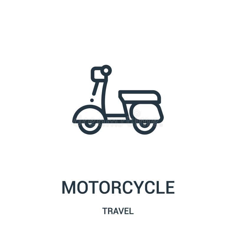 摩托车从旅行汇集的象传染媒介 稀薄的线摩托车概述象传染媒介例证 r 库存例证