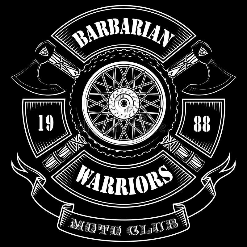 摩托车俱乐部的象征,摩托车轮子和北欧海盗的横渡的轴 库存例证