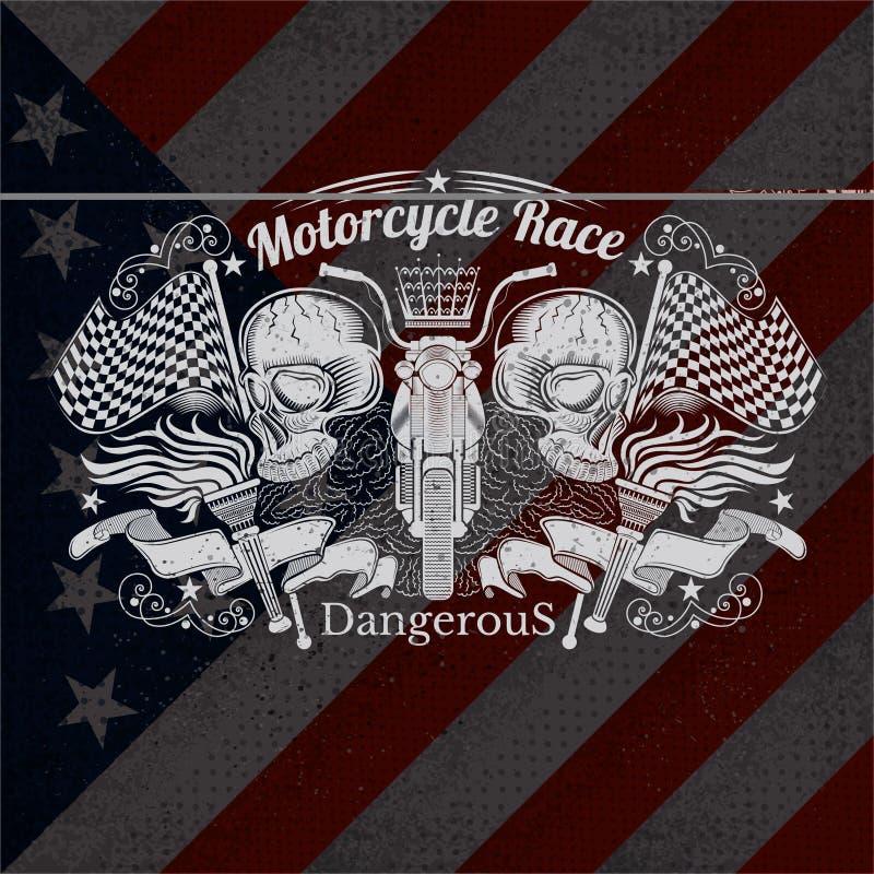 摩托车在美国旗子背景的图表例证 向量例证
