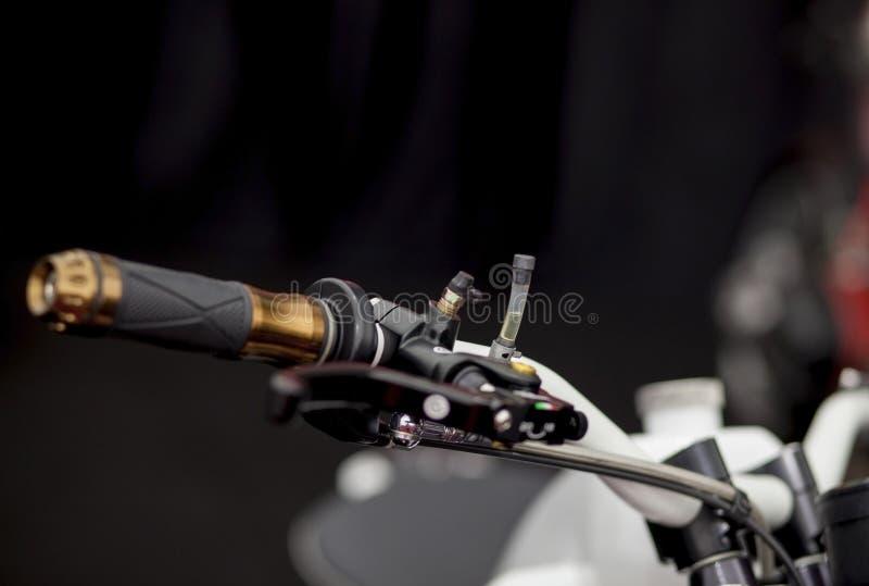 摩托车把手和制动系统特写镜头 库存照片