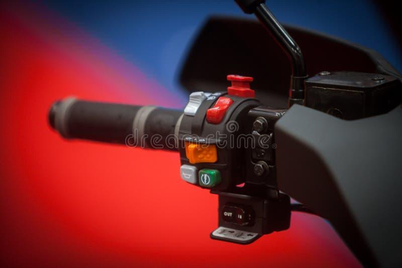 摩托车控制细节 免版税库存照片