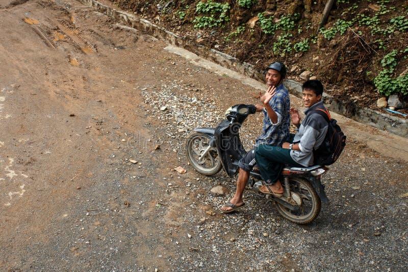 摩托车旅行在Falam,缅甸(缅甸) 免版税图库摄影