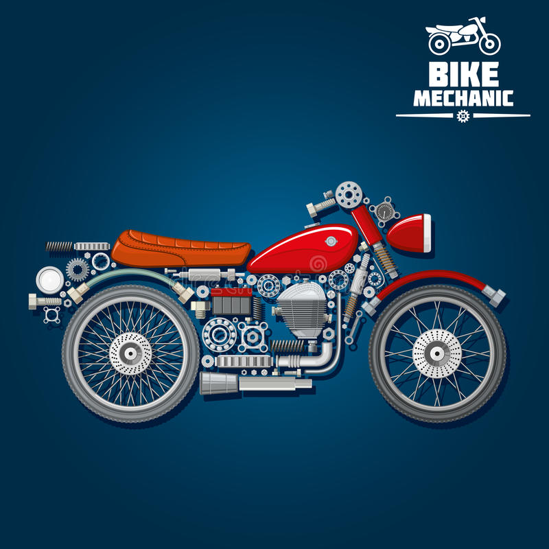 摩托车机械零件剪影象 向量例证