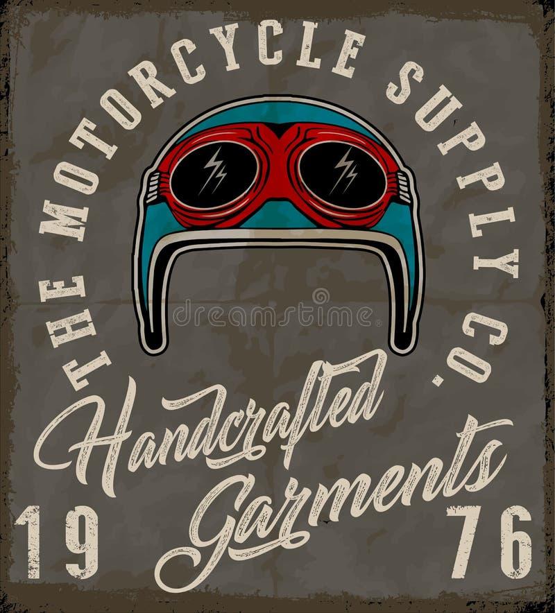 摩托车盔甲标签T恤杉设计 皇族释放例证