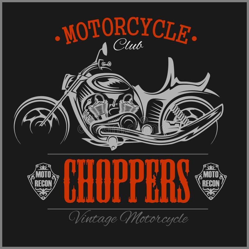 摩托车砍刀商标 传染媒介葡萄酒车库略写法 摩托车 向量例证