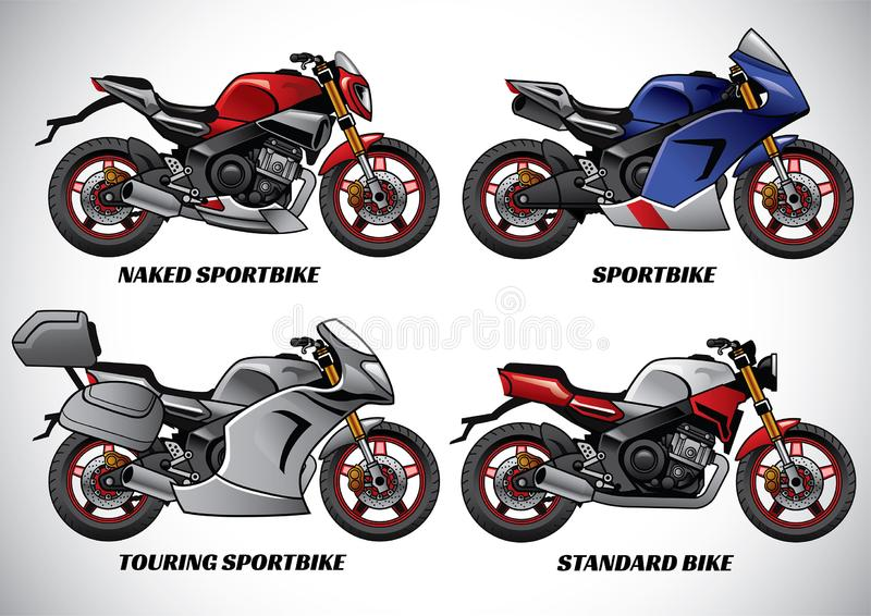 摩托车第1部分的类型 向量例证