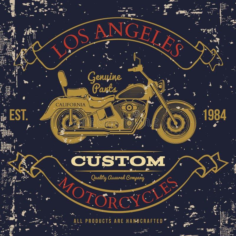 摩托车葡萄酒图表,旅行, T恤杉印刷术,葡萄酒 向量 库存例证
