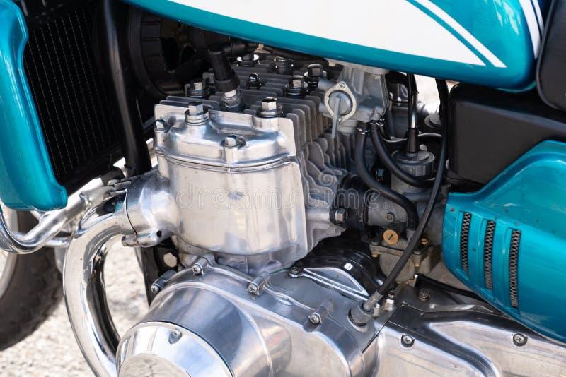 摩托车葡萄酒Chrome发动机组特写镜头 库存图片