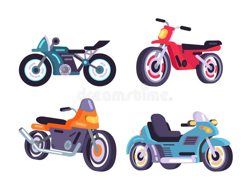 摩托车设置了时髦的汽车运输项目模型 向量例证