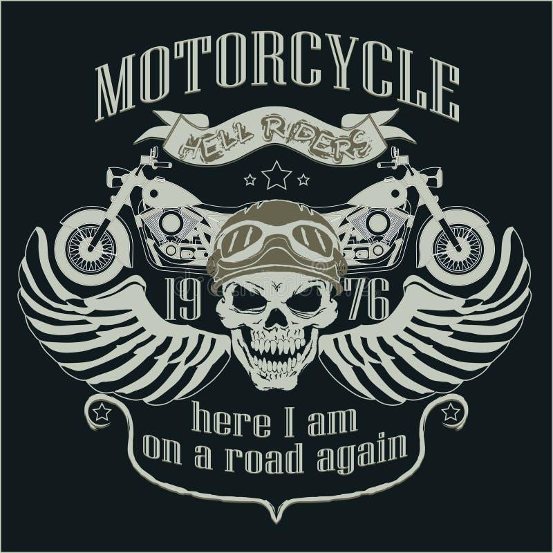 摩托车设计模板商标 头骨车手- 库存例证