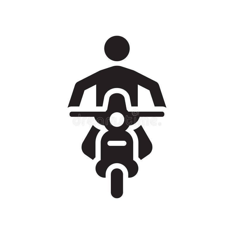 摩托车象在白色背景和标志隔绝的传染媒介标志,摩托车商标概念象 库存例证
