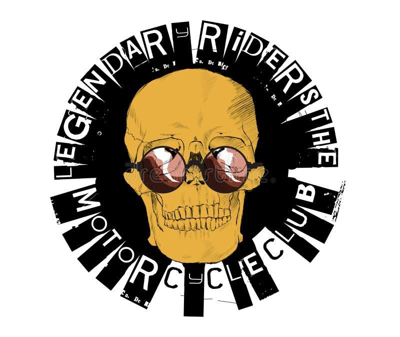摩托车赛跑的印刷术, T恤杉图表 库存例证