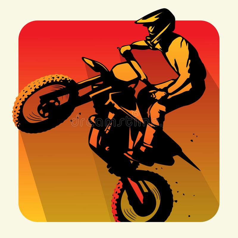 摩托车越野赛事故碰撞着陆崩溃例证传染媒介 皇族释放例证