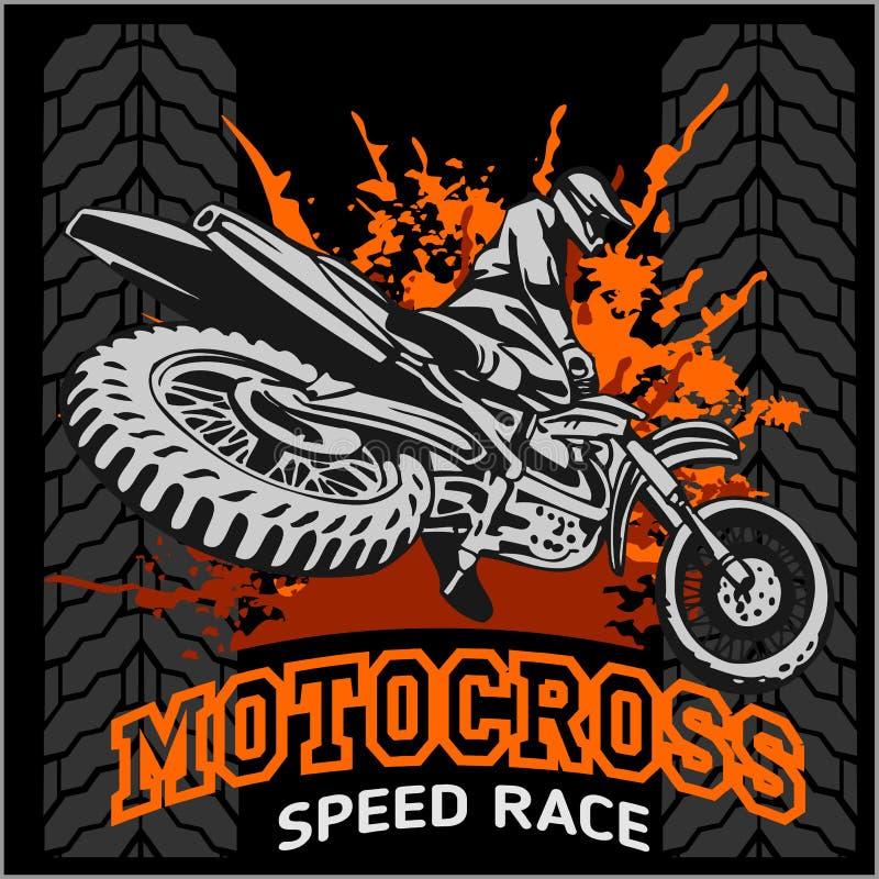 摩托车越野赛体育象征 向量例证
