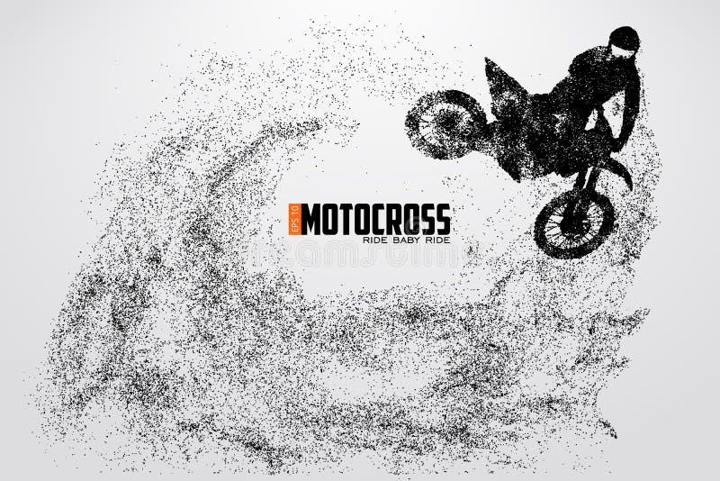 摩托车越野赛司机剪影 也corel凹道例证向量 皇族释放例证