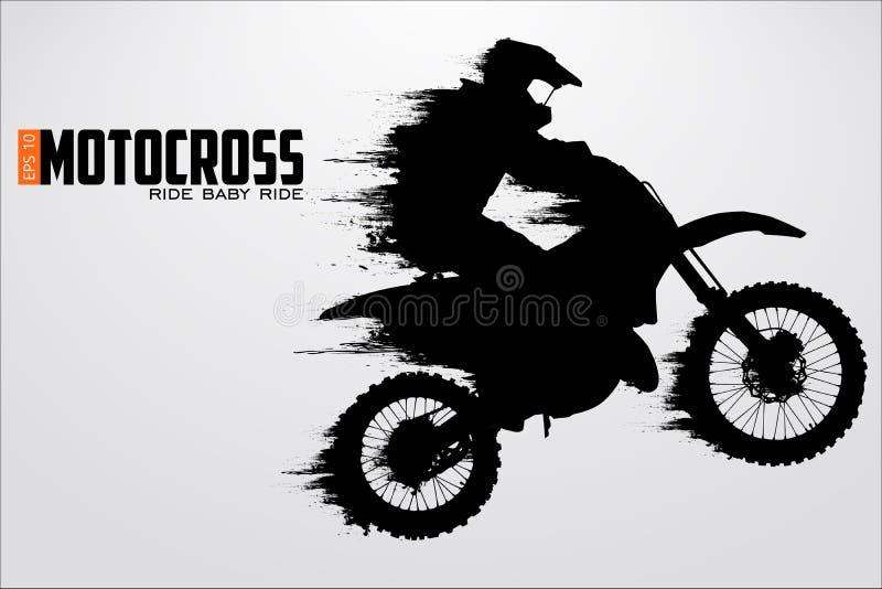摩托车越野赛司机剪影 也corel凹道例证向量 库存例证