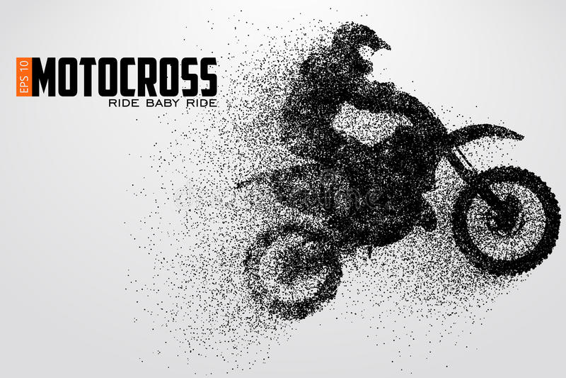 摩托车越野赛司机剪影 也corel凹道例证向量 向量例证