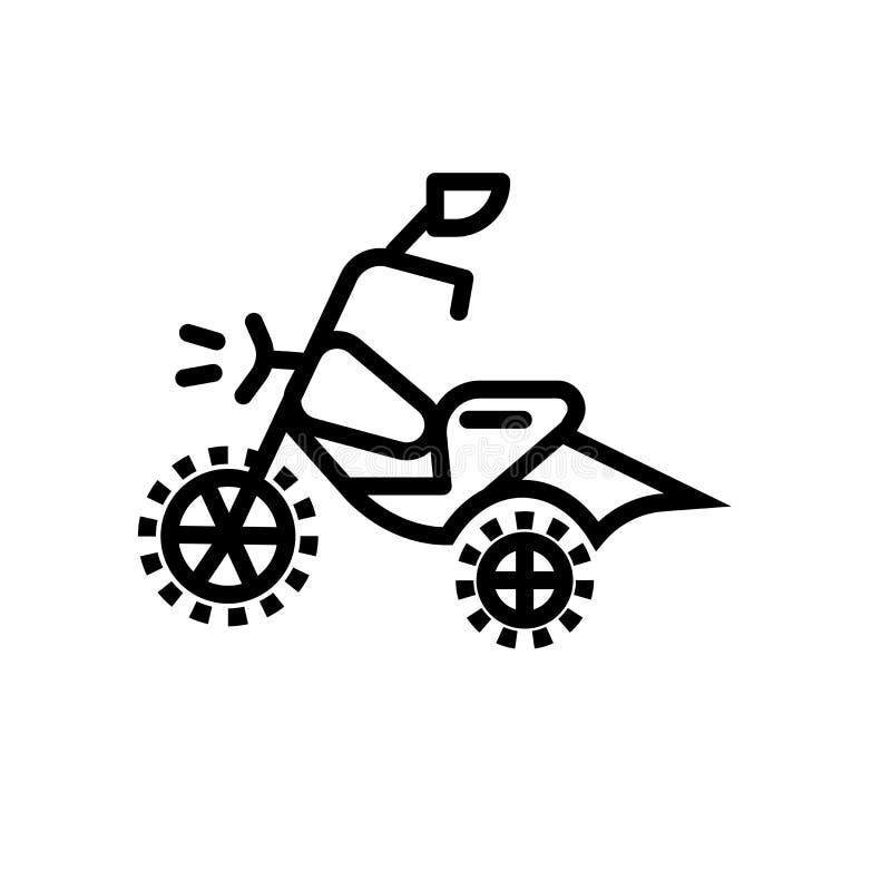 摩托车越野赛在白色背景、摩托车越野赛标志、线性标志和冲程设计元素隔绝的象传染媒介在概述样式 库存例证