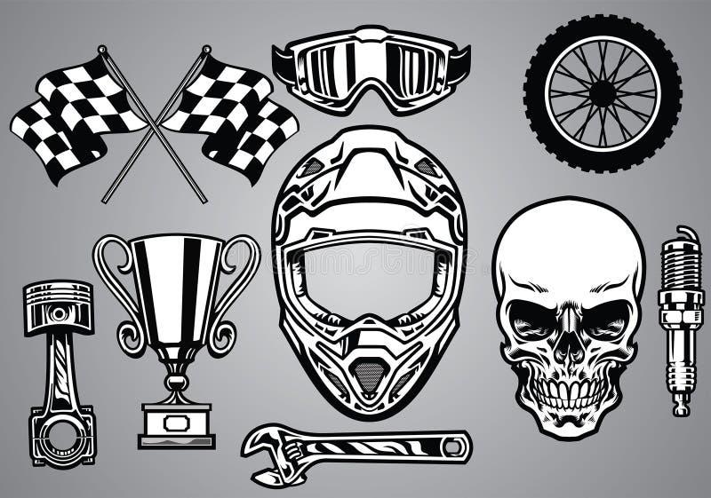 摩托车越野赛赛跑与头骨的套 库存例证