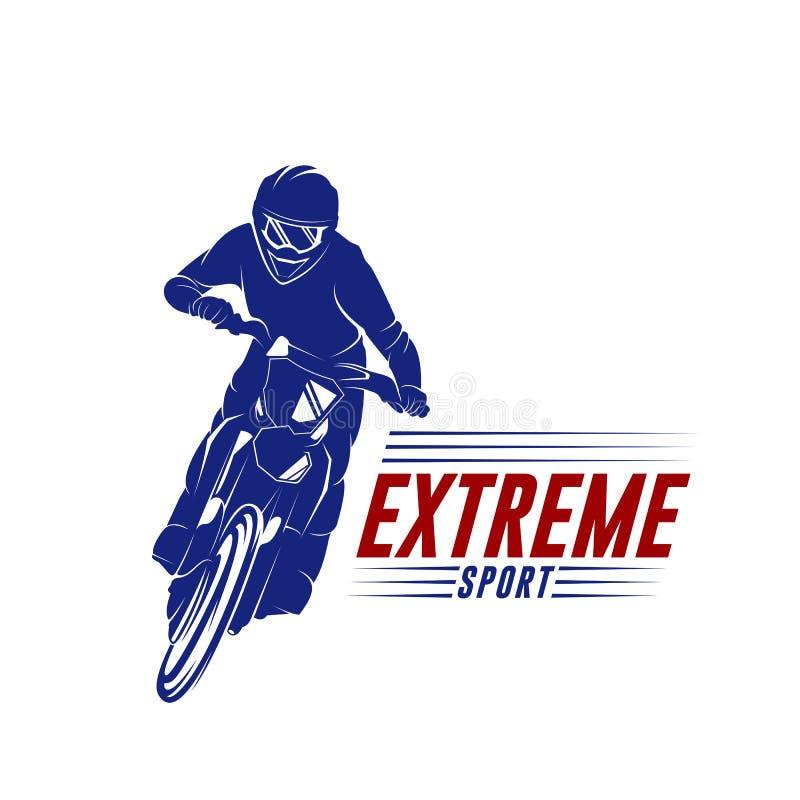 摩托车越野赛跃迁商标传染媒介 摩托车越野赛自由式传染媒介 摩托车越野赛传染媒介例证 皇族释放例证