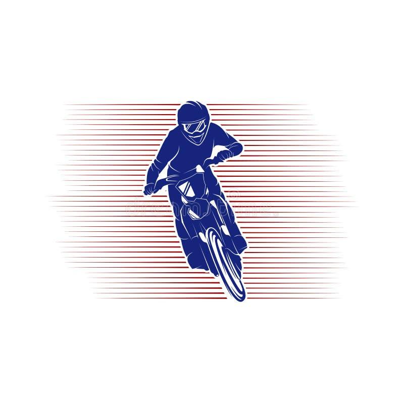 摩托车越野赛跃迁商标传染媒介 摩托车越野赛自由式传染媒介 摩托车越野赛传染媒介例证 库存例证