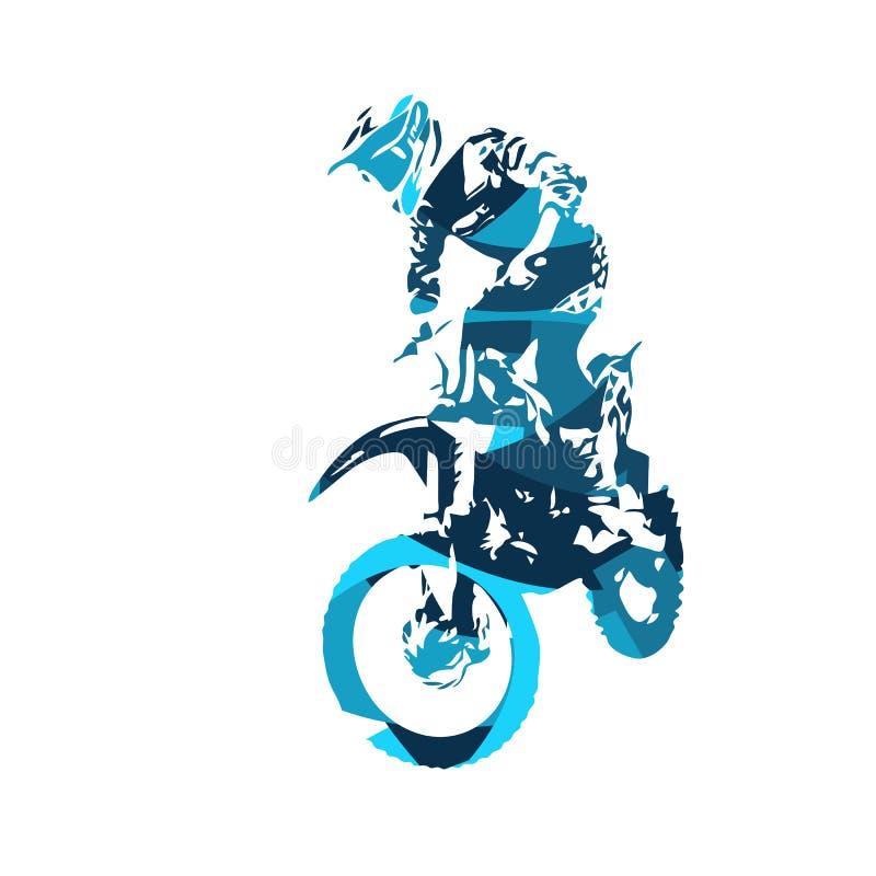 摩托车越野赛跳跃的自由式车手,传染媒介 皇族释放例证