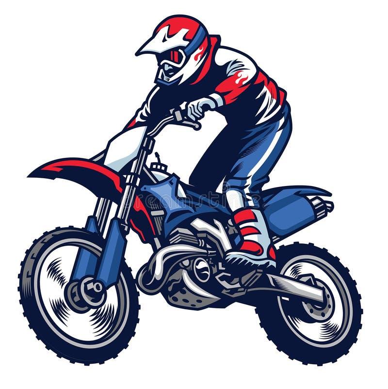 摩托车越野赛车手乘驾摩托车越野赛自行车 皇族释放例证