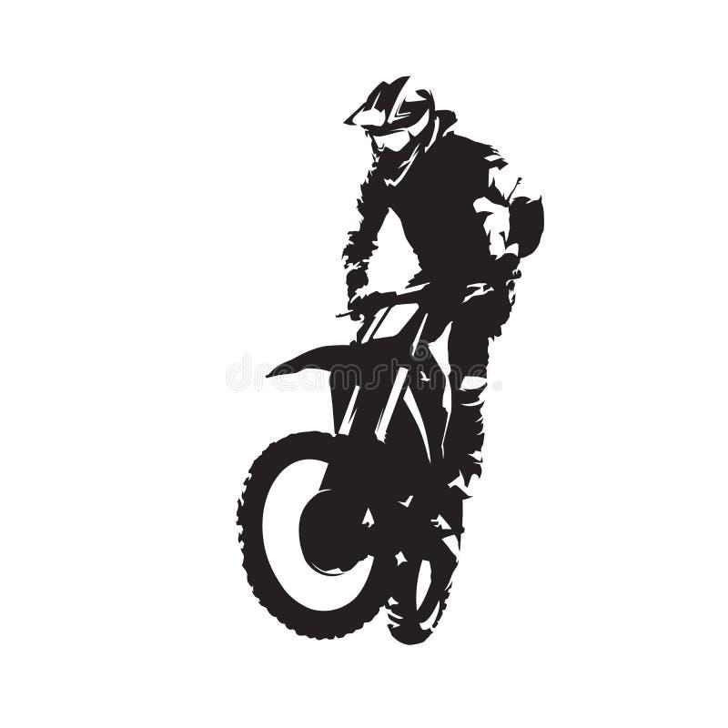 摩托车越野赛车手传染媒介被隔绝的剪影 皇族释放例证