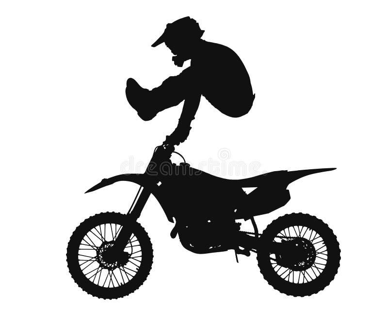 摩托车越野赛车手剪影  皇族释放例证