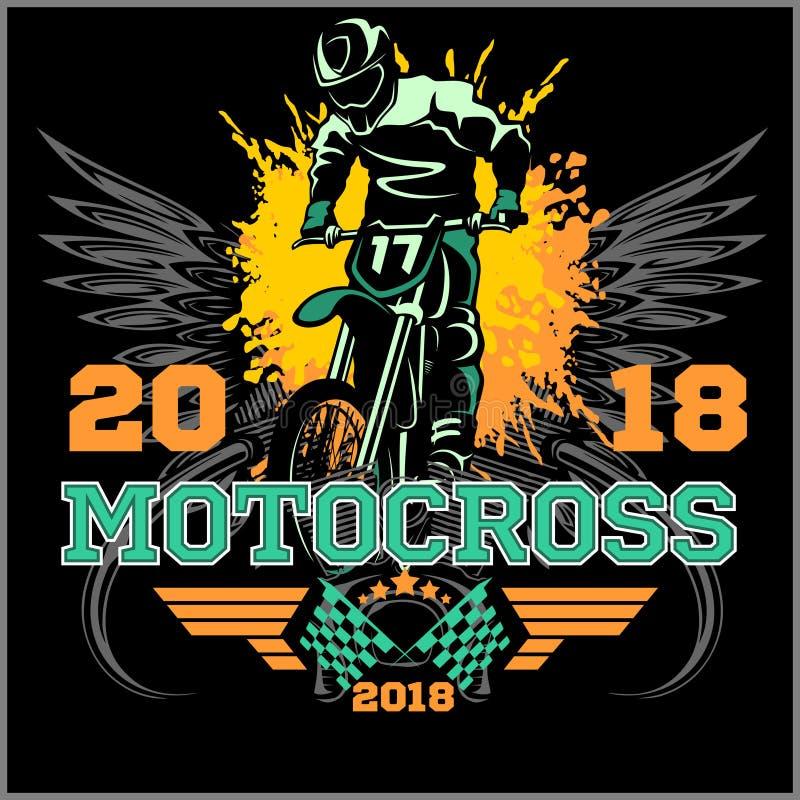摩托车越野赛车手徽章商标象征传染媒介例证 皇族释放例证