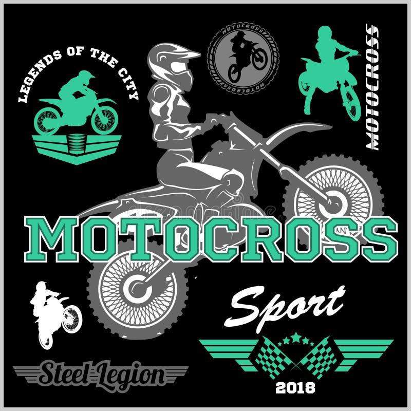 摩托车越野赛车手徽章商标象征传染媒介例证 库存例证