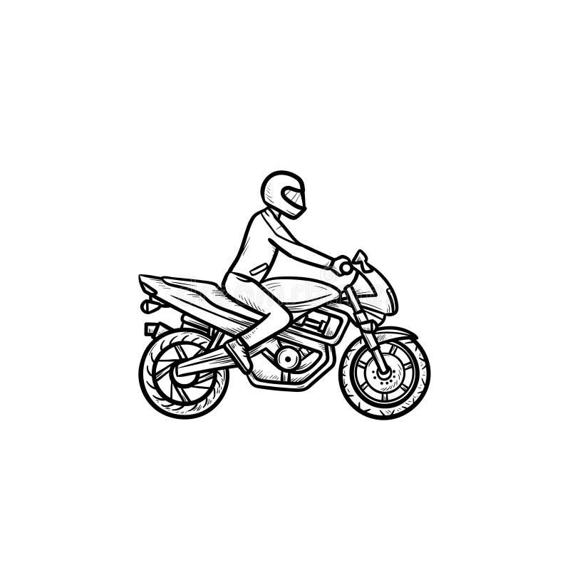 摩托车越野赛车手手拉的概述乱画象 向量例证