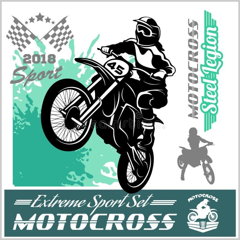 摩托车越野赛车手-传染媒介象征和商标 皇族释放例证