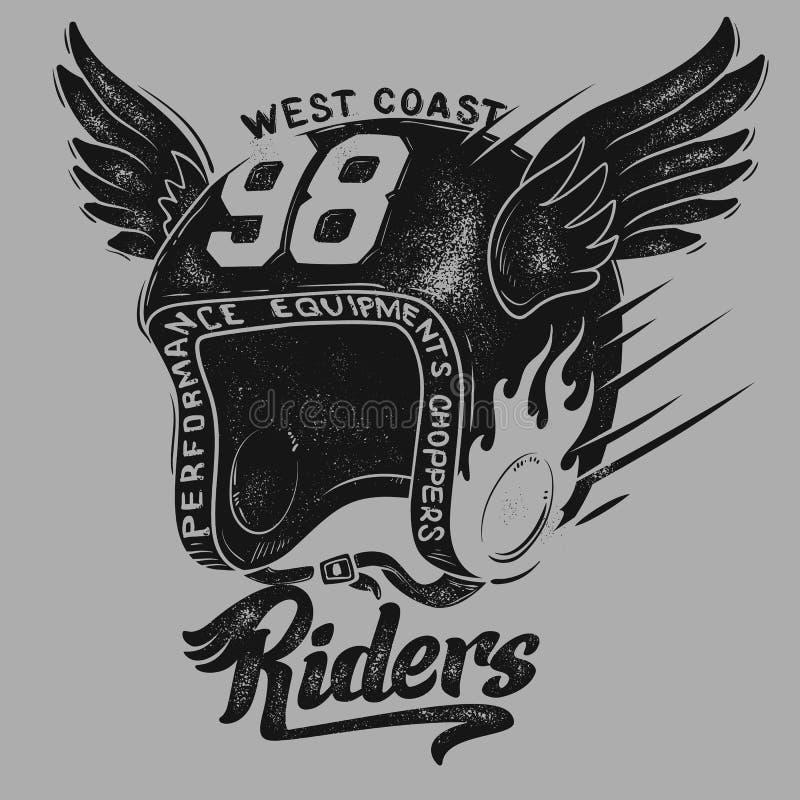 摩托车车手盔甲,T恤杉印刷品设计 皇族释放例证