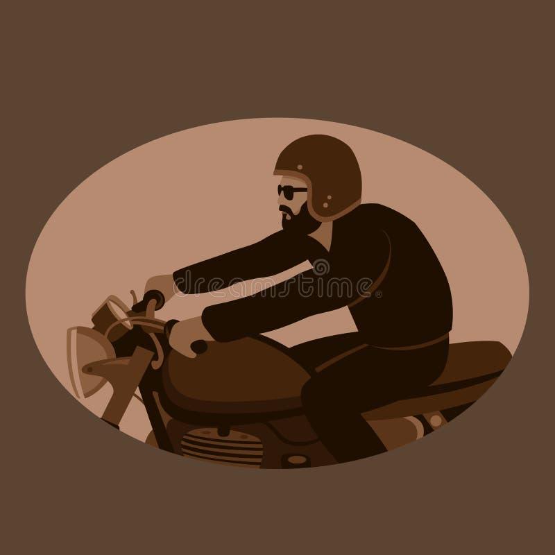 摩托车骑士葡萄酒传染媒介例证平的样式外形 皇族释放例证