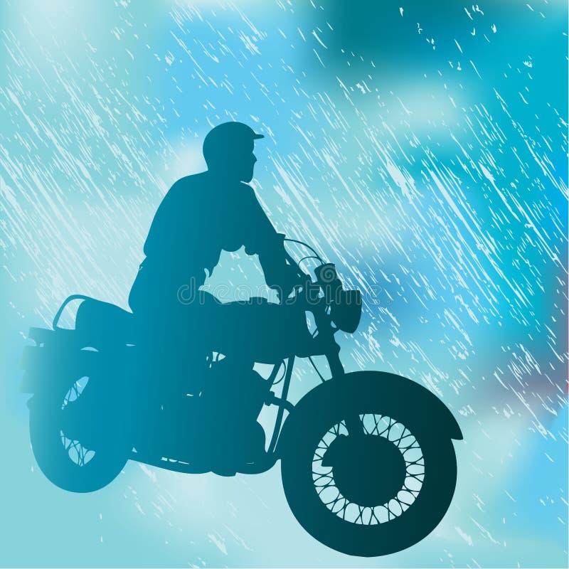 摩托车骑士雨 向量例证