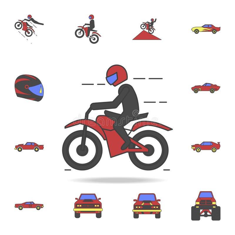 摩托车骑士领域coloricon 详细的套颜色大脚汽车象 优质图形设计 其中一个汇集象为 库存例证