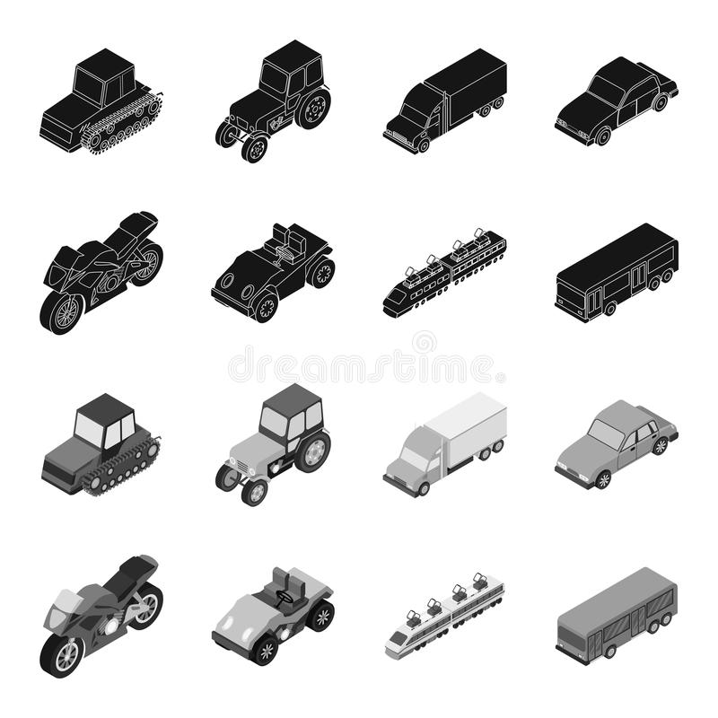 摩托车,高尔夫车,火车,公共汽车 运输集合汇集象在黑,单色样式传染媒介标志库存 库存例证