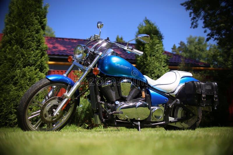 摩托车, vulcan,习惯,蓝色 免版税库存照片