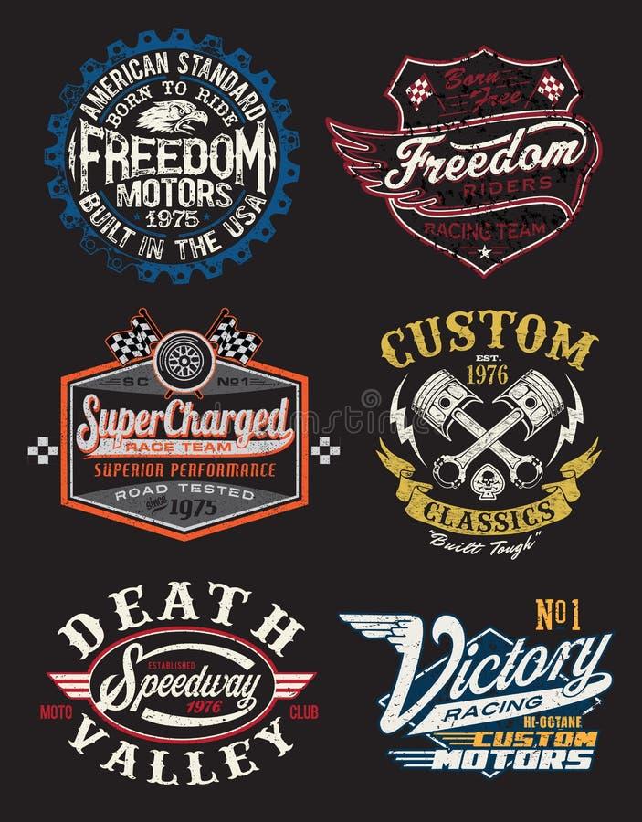 摩托车主题的徽章 库存例证