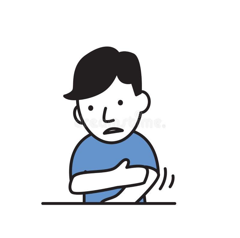 摩擦他的手,憔悴的病的男孩 平的设计象 平的传染媒介例证 背景查出的白色 库存例证