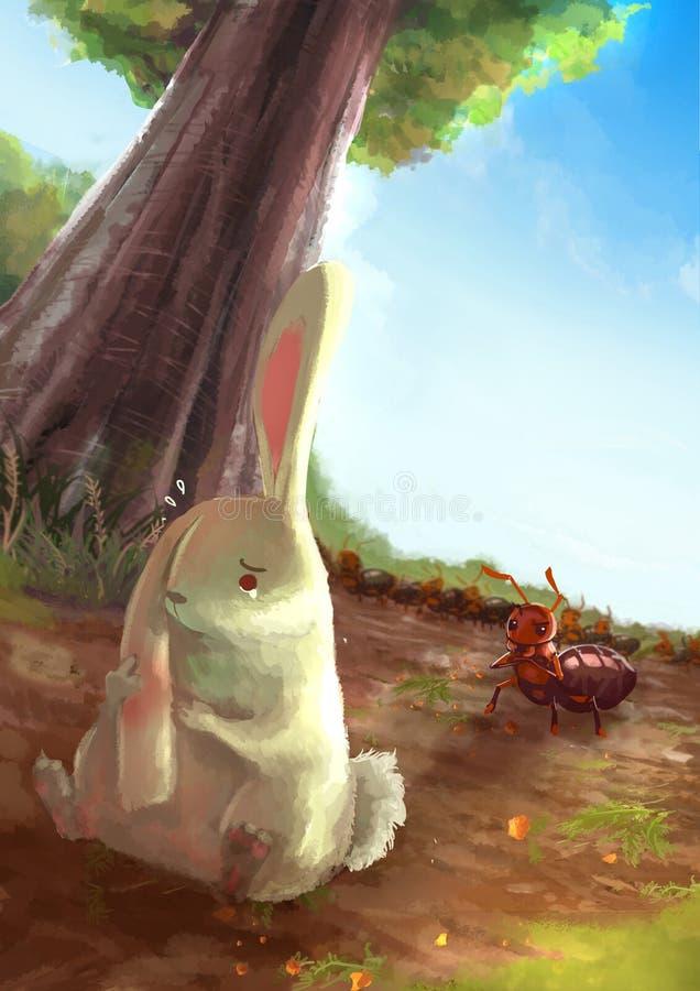 摩擦她的在痛苦wi的白色兔子的动画片例证耳朵 向量例证
