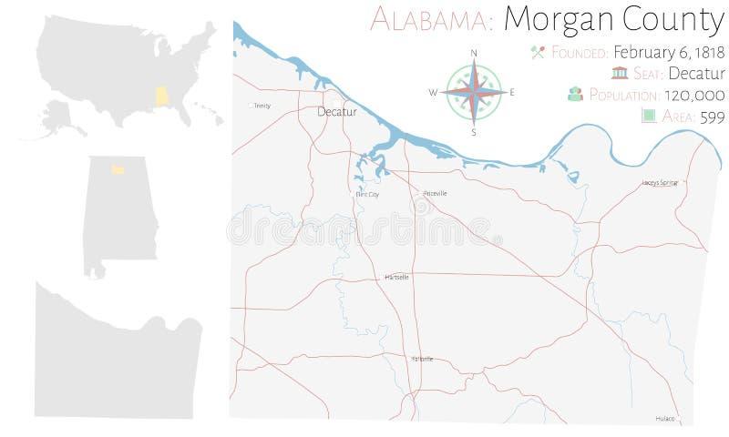 摩根县地图在阿拉巴马 向量例证