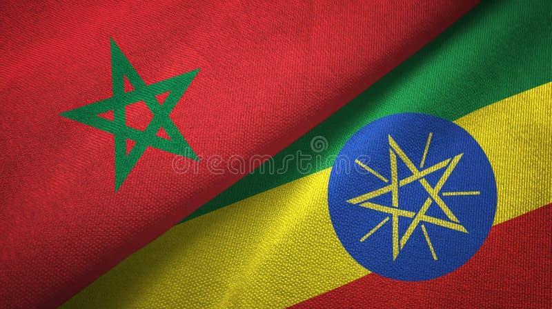 摩洛哥和埃塞俄比亚两旗子纺织品布料,织品纹理 皇族释放例证