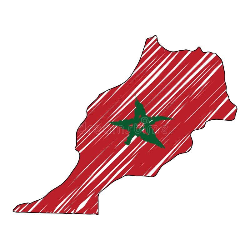 摩洛哥地图手拉的剪影 传染媒介概念例证旗子,儿童的图画,杂文地图 国家地图为 皇族释放例证