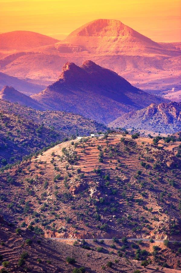 摩洛哥山日落 库存照片