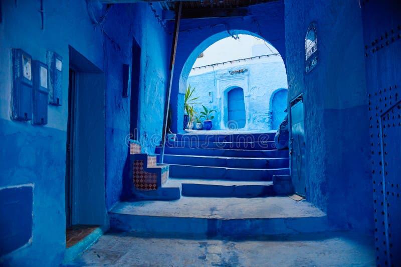 摩洛哥是蓝色市舍夫沙万,在蓝色颜色绘的不尽的街道 许多花和纪念品在美丽 免版税库存照片